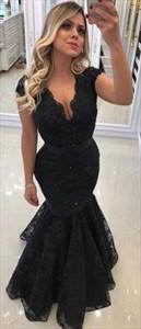 Black V Neck Cap Sleeve Tiered Lace Floor Length Mermaid Prom Dress