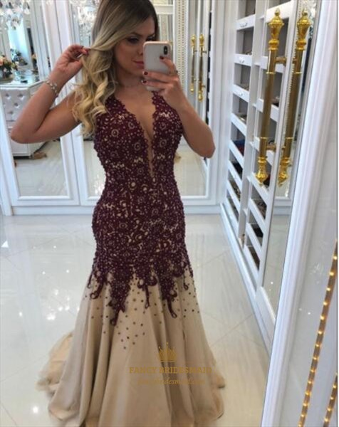 Sleeveless Sheath Beaded Tulle Prom Dresses With Lace Applique