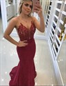 Elegant Burgundy Sheer Back Applique Lace Mermaid Prom Dress