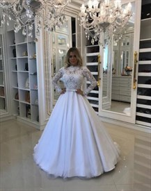 High Neck Lace Long Sleeve Ball Gown Tulle Wedding Dress With Bow