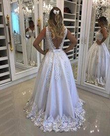 V Neck Backless Wedding Dress With Beaded Belt And Lace Applique