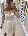 White Off The Shoulder Long Sleeve Beaded Short Prom Dresses With Bow