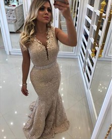 Gold V Neck Sleeveless Beaded Lace Mermaid Prom Dress With Belts