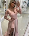 A Line Lace Long Sleeves Beaded Chiffon Prom Dress With Split