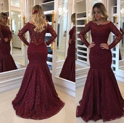 Burgundy Asymmetrical Neckline Long Sleeve Floor Length Prom Dress