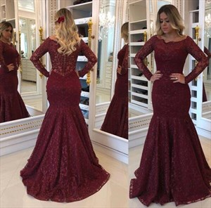 Burgundy Asymmetrical Neckline Long Sleeve Floor Length Prom Dress