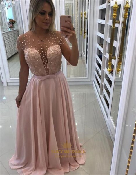A Line Sheer V Neck Beaded Short Sleeve Chiffon Prom Dress With Bow