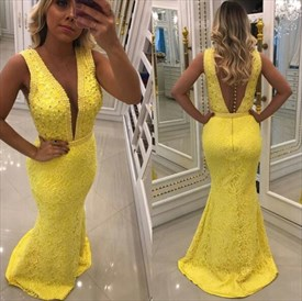 Yellow Deep V Neck Sleeveless Beaded Sheath Lace Prom Dress