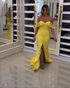 Yellow Off The Shoulder Long Lace Prom Dress With Train And Split