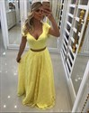 Simple A Line V Neck Short Sleeve Lace Floor Length Prom Dress