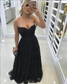 Illusion Black A Line Sweetheart Sleeveless Beaded Prom Dress