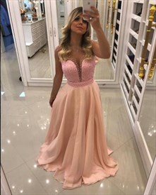 Pink A Line V Neck Sleeveless Beaded Chiffon Prom Dress