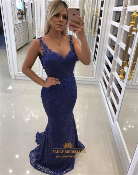 Blue Sleeveless Beaded Lace Sheath Floor Length Prom Dress