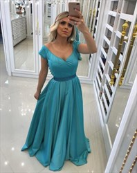 Aqua Blue Short Sleeve V Neck Beaded Satin Long Prom Dress
