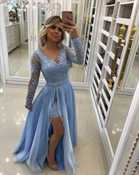 A Line Long Sleeve Beaded Prom Dress With Detachable Chiffon Skirt
