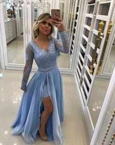 A Line Long Sleeve Beaded Prom Dress With Detachable Chiffon Skirt
