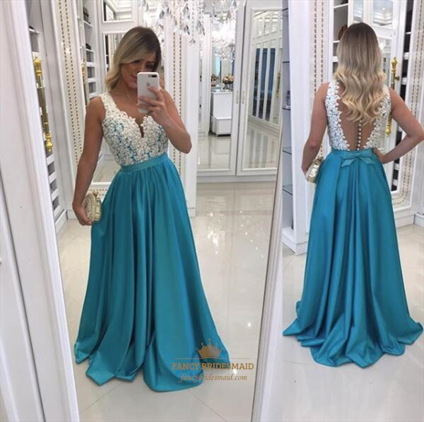 Sleeveless V Neck Sheer Back Beaded Satin Prom Dress With Bow In Back