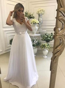White V Neck Cap Sleeve Beaded Tulle Prom Dress With Bow On Front