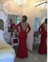 Red Bateau Neckline Long Sleeve V Back Beaded Column Lace Prom Dress