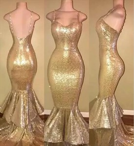 Gold Spaghetti Strap Sheath Mermaid Sequin Prom Dress With Ruffles