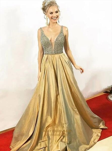 Elegant A Line Gold V Neck Sleeveless Beaded Taffeta Prom Dress