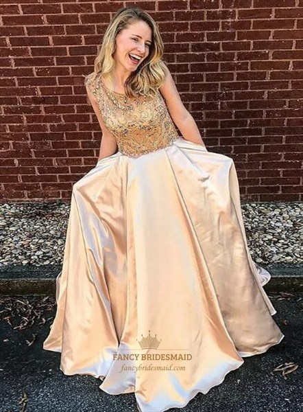 Champagne Jewel Neck Sleeveless Satin Long Prom Dress With Pockets