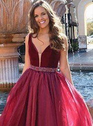 Burgundy V Neck Floor Length Organza Prom Dress With Beaded Waistband