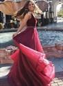 Burgundy V Neck Floor Length Organza Prom Dress With Beaded Waistband