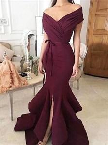 V Neck Ruched Cap Sleeve Sheath Mermaid Prom Dress With Split