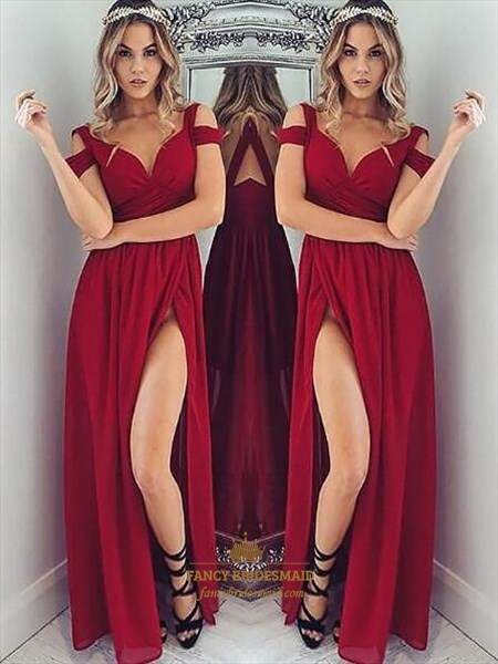 Red Cap Sleeve Ruched Chiffon Floor Length Prom Dress With Split