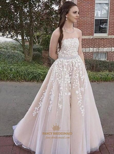 Princess Light Pink Strapless Beaded Prom Dress With Lace Applique