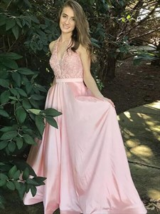 A Line Pink Halter Sleeveless Lace Top Satin Bottom Prom Dress