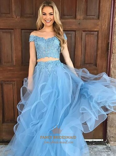 Light Blue Off The Shoulder Two Piece Tulle Prom Dress With Ruffled