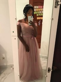 Pink Off The Shoulder Sleeveless Ruched Tulle Prom Dress With Belt