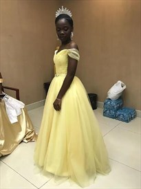 Yellow Off The Shoulder Floor Length Tulle Prom Dress With Sash