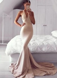 Halter Cross Strap Open Back Sheath Mermaid Prom Dress With Train