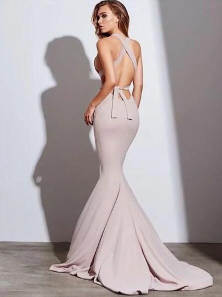 Halter Cross Strap Open Back Sheath Mermaid Prom Dress With Train