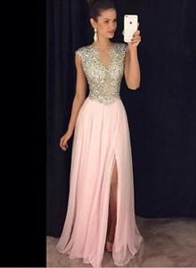 A Line Bateau Neckline Beaded Bodice Chiffon Prom Dress With Split