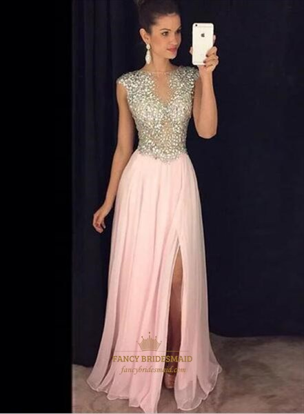 A Line Bateau Neckline Beaded Bodice Chiffon Prom Dress With Split