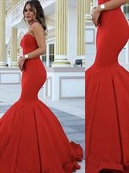 Simple Red Sweetheart Sleeveless Sheath Mermaid Satin Prom Dress