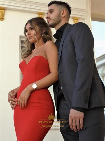 Simple Red Sweetheart Sleeveless Sheath Mermaid Satin Prom Dress