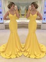 Yellow Square Neck Sleeveless Satin Mermaid Floor Length Prom Dresses