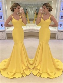 Yellow Square Neck Sleeveless Satin Mermaid Floor Length Prom Dresses