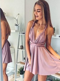 A Line V Neck Ruched Cross Strap Back Satin Short Homecoming Dresses