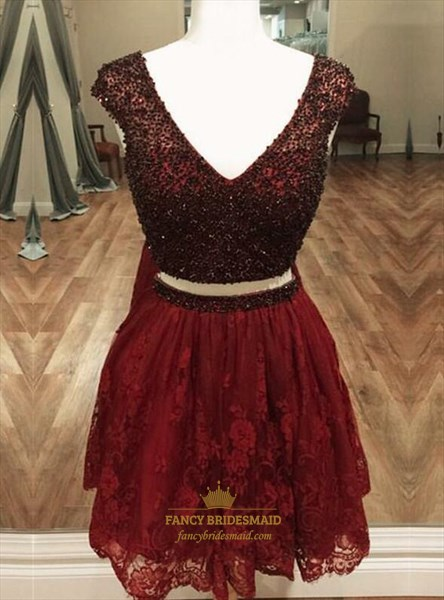 Burgundy Beaded Bodice Cap Sleeve Lace Short Two Piece Prom Dress