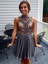 Dark Grey High Neck Keyhole Beaded Waist Chiffon Short Prom Dress