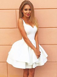White A Line V Neck Satin Short Homecoming Dresses With Lace Up Back