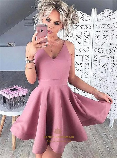 Simple Pink Spaghetti Strap Sleeveless Pleated Short Homecoming Dress