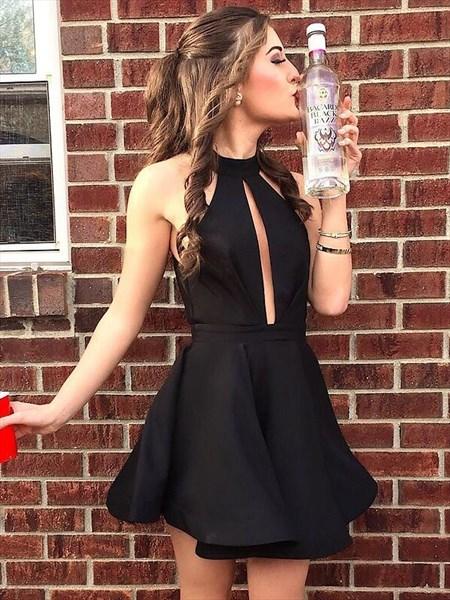 Little Black A Line High Neck Keyhole Satin Short Prom Dress