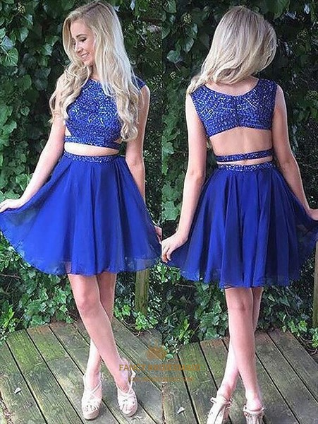 Royal Blue Beaded Two Piece Short Prom Dress With Keyhole Back